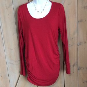 A Pea in the Pod Red Long Sleeved Maternity Shirt